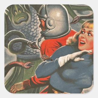 Adesivo Quadrado Viajantes do espaço atacados pelo monstro do