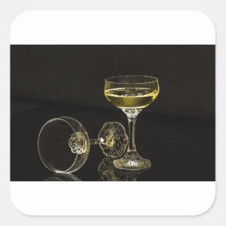 Adesivo Quadrado vidros do champanhe