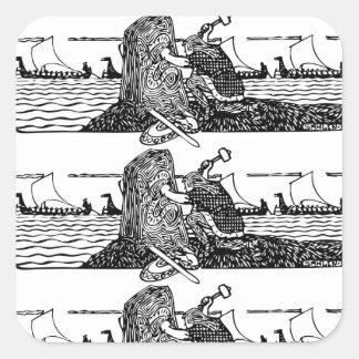 Adesivo Quadrado Viking que cinzela Runes