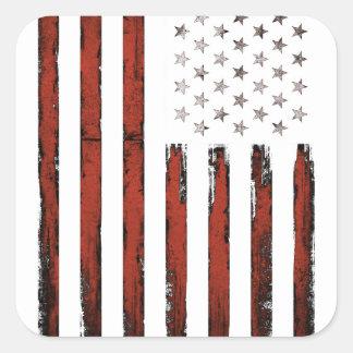 Adesivo Quadrado Vintage americano da bandeira dos Estados Unidos