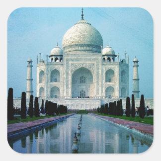 Adesivo Quadrado Vintage boémio Taj Mahal de India Agra do viagem