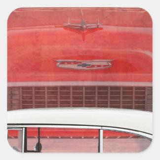 Adesivo Quadrado Vintage branco vermelho de Dodge do Bel Air