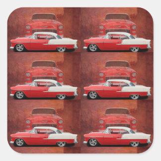 Adesivo Quadrado Vintage branco vermelho Dodge do Bel Air clássico