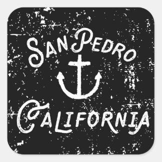 Adesivo Quadrado Vintage da âncora de San Pedro Los Angeles