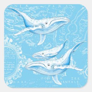Adesivo Quadrado Vintage da família das baleias azuis