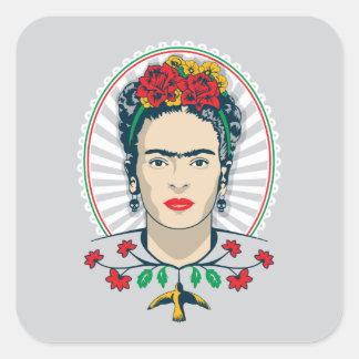 Adesivo Quadrado Vintage de Frida Kahlo | floral