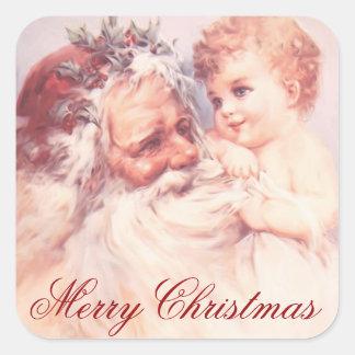 Adesivo Quadrado Vintage Papai Noel do Feliz Natal e criança