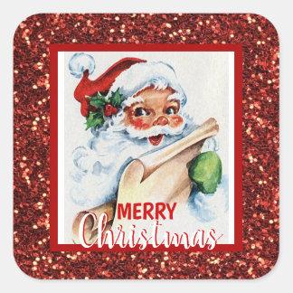 Adesivo Quadrado Vintage vermelho Papai Noel do brilho do Feliz