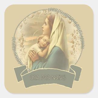 Adesivo Quadrado Virgem Maria abençoada com bebê Jesus