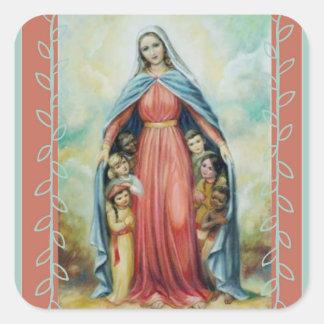 Adesivo Quadrado Virgem Maria abençoada com crianças