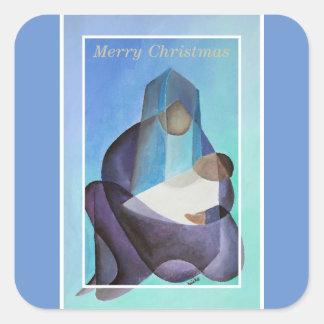 Adesivo Quadrado Virgem Maria e criança do Feliz Natal