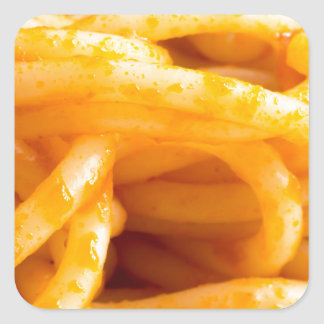 Adesivo Quadrado Vista macro detalhada nos espaguetes cozinhados em