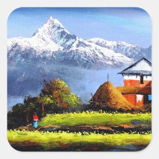 Adesivo Quadrado Vista panorâmica da montanha bonita de Everest