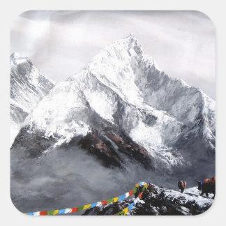 Adesivo Quadrado Vista panorâmica da montanha de Everest
