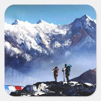 Adesivo Quadrado Vista panorâmica da montanha máxima de Ama Dablam