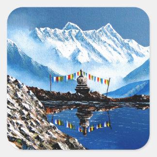 Adesivo Quadrado Vista panorâmica da montanha Nepal de Annapurna