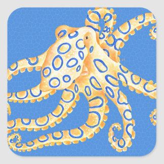 Adesivo Quadrado Vitral azul do polvo