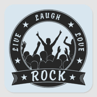 Adesivo Quadrado Vive a ROCHA do amor do riso (o preto)