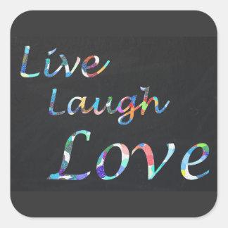Adesivo Quadrado Vive o amor do riso