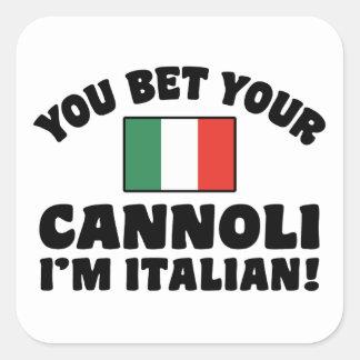 Adesivo Quadrado Você aposta seu Cannoli que eu sou italiano