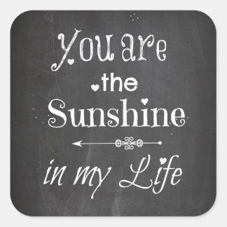 Adesivo Quadrado Você é as letras do quadro da luz do sol