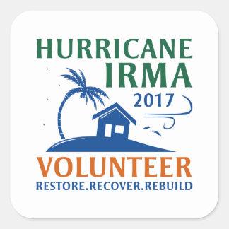 Adesivo Quadrado Voluntário de Irma do furacão