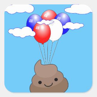 Adesivo Quadrado Vôo de Poo Emoji com os balões no céu azul