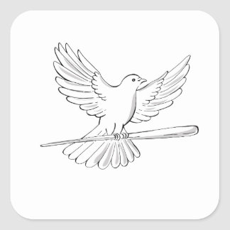 Adesivo Quadrado Vôo do pombo ou da pomba com desenho do bastão