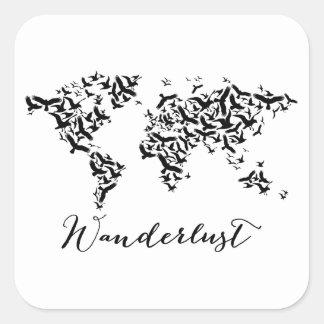 Adesivo Quadrado Wanderlust, mapa do mundo com pássaros de vôo