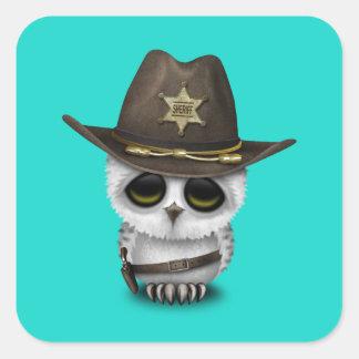 Adesivo Quadrado Xerife bonito da coruja do bebê