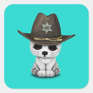 Adesivo Quadrado Xerife bonito de Cub de urso polar do bebê
