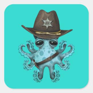 Adesivo Quadrado Xerife bonito do polvo do bebê azul