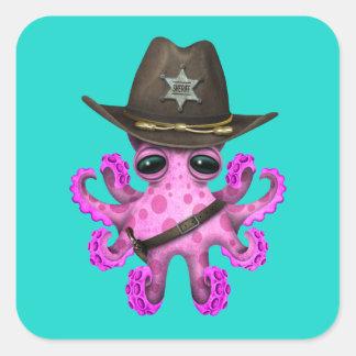 Adesivo Quadrado Xerife cor-de-rosa bonito do polvo do bebê