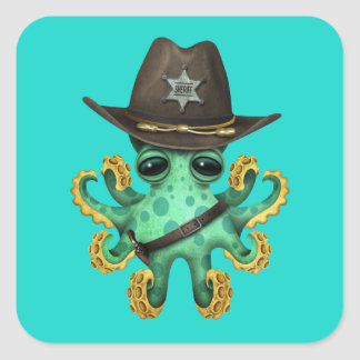 Adesivo Quadrado Xerife verde bonito do polvo do bebê