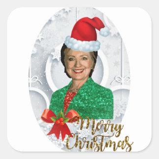 Adesivo Quadrado xmas Hillary clinton da feliz