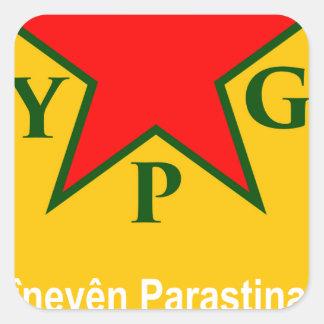 Adesivo Quadrado ypg-ypj - kobani do apoio
