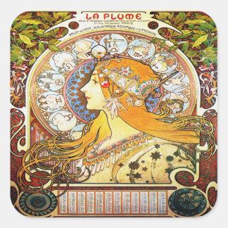 Adesivo Quadrado Zodíaco 1896 de Alfons Mucha