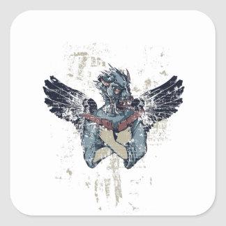 Adesivo Quadrado zombi do vôo com asas