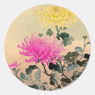 Adesivo Redondo 土屋光逸 de Tsuchiya Koitsu - 菊 do crisântemo