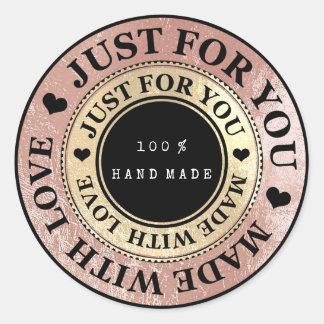 Adesivo Redondo 100% nomes feitos mão da Web branco cor-de-rosa do