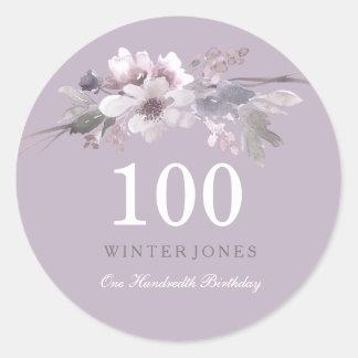 Adesivo Redondo 100th festa de aniversário floral roxa elegante