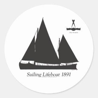 Adesivo Redondo 1891 barcos salva-vidas de navigação - fernandes