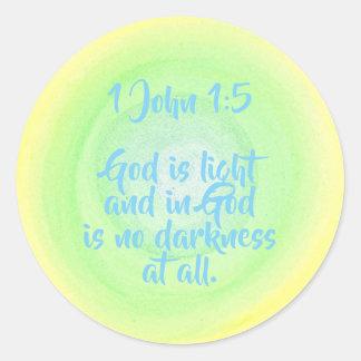 Adesivo Redondo 1 John 1 5, deus é luz, nenhuma escuridão,
