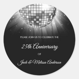 Adesivo Redondo 25o Bola do disco da prata da festa de aniversário