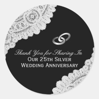 Adesivo Redondo 25o Obrigado do aniversário de casamento de prata