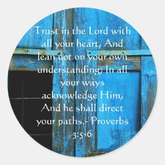 Adesivo Redondo 3:5 inspirado dos provérbio das citações da bíblia