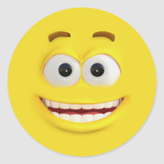 Adesivo Redondo 3D efeito feliz Emoji