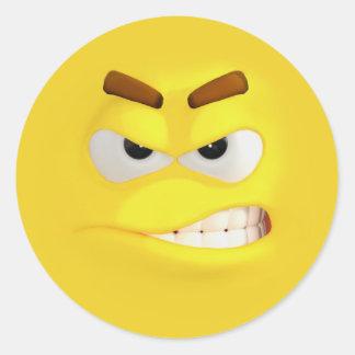 Adesivo Redondo 3D efeito irritado Emoji