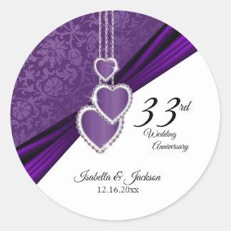 Adesivo Redondo 3ó Aniversário de casamento roxo Amethyst