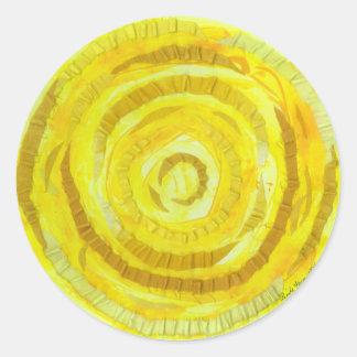 Adesivo Redondo 3rd-solar trabalhos de arte amarelos do plexo